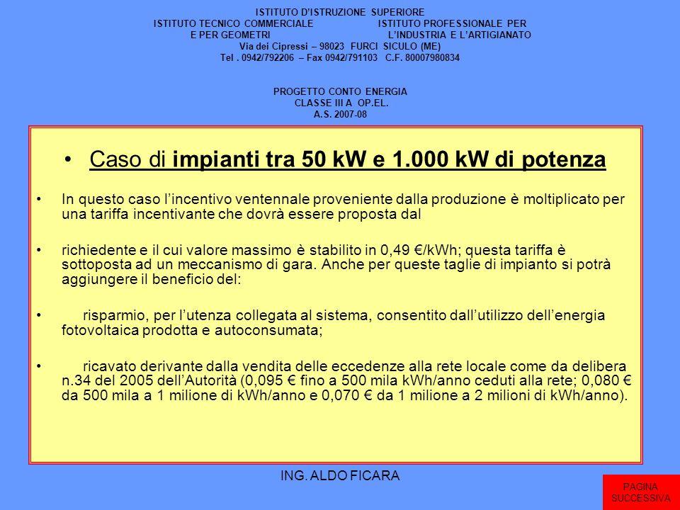 Caso di impianti tra 50 kW e 1.000 kW di potenza