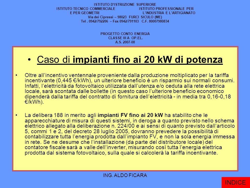 Caso di impianti fino ai 20 kW di potenza