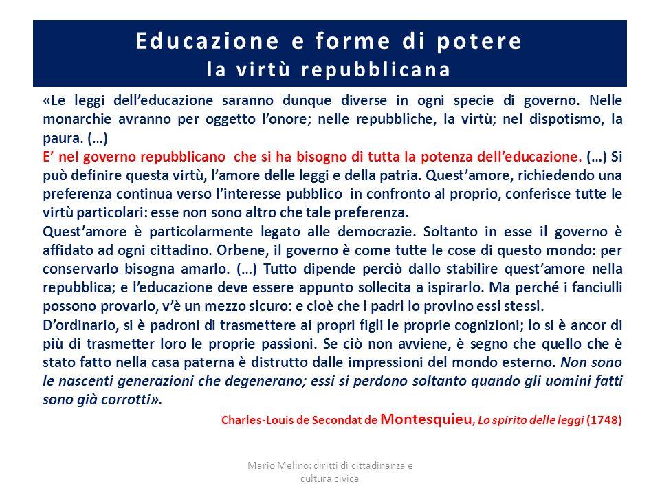 Educazione e forme di potere la virtù repubblicana