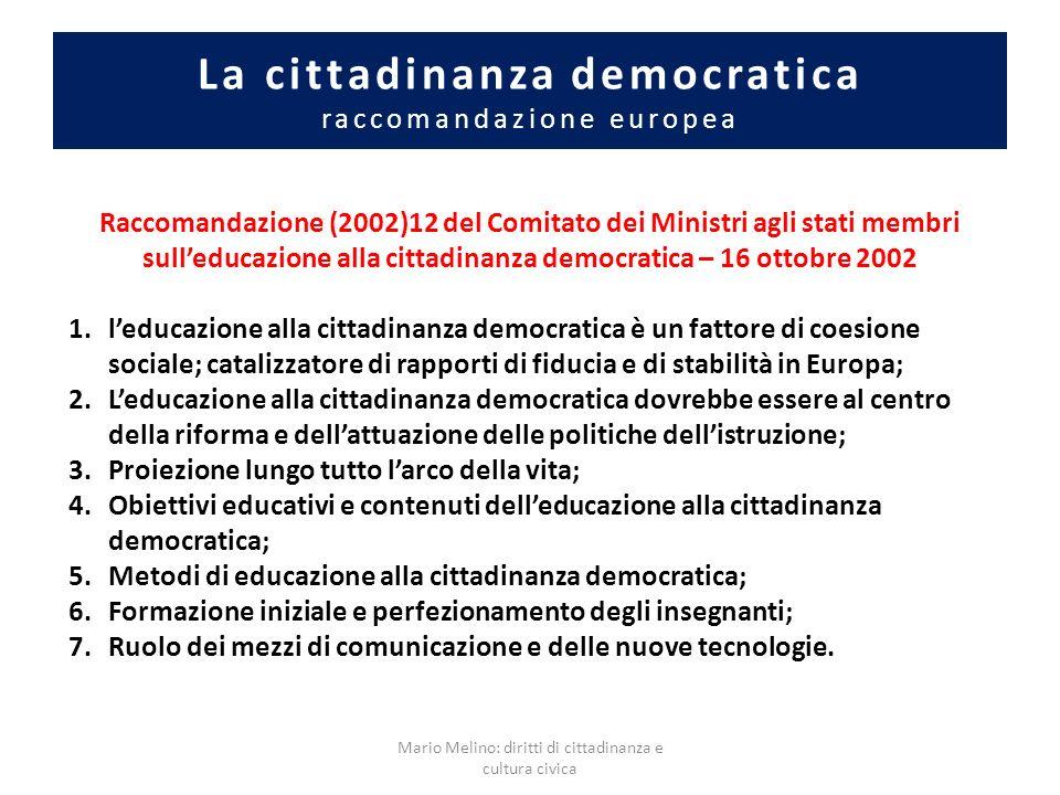 La cittadinanza democratica raccomandazione europea