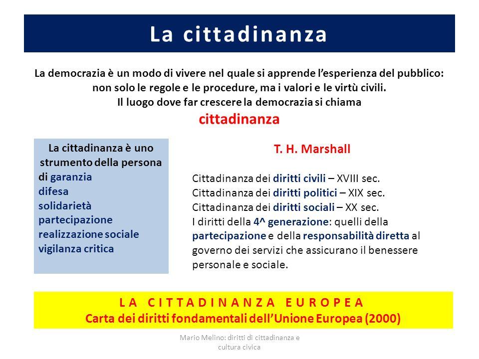 La cittadinanza cittadinanza T. H. Marshall LA CITTADINANZA EUROPEA