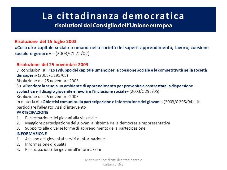 Mario Melino: diritti di cittadinanza e cultura civica