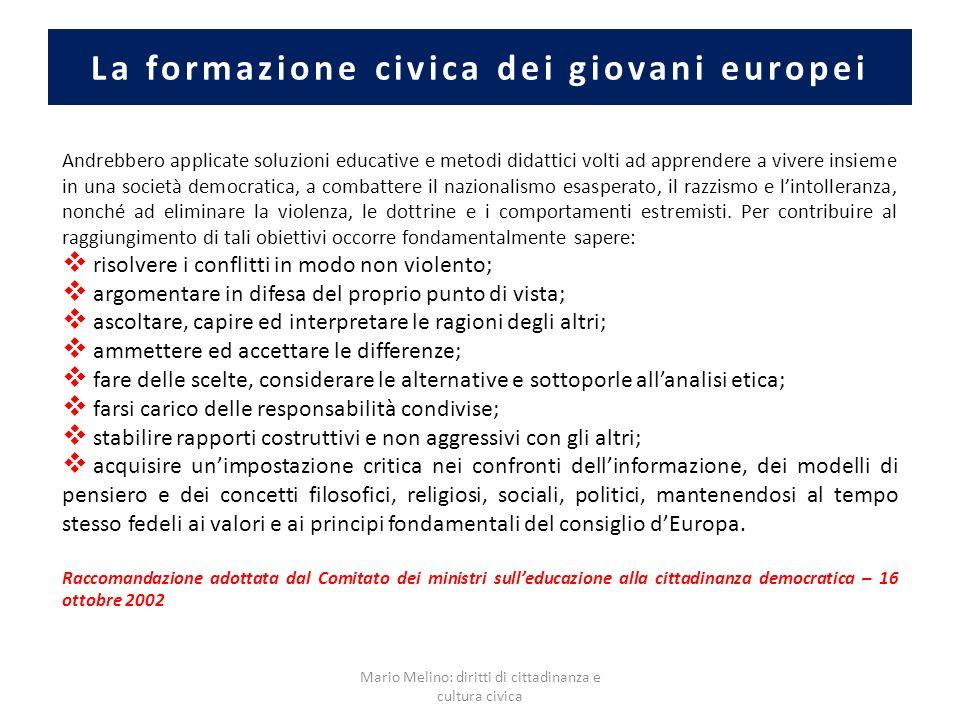 La formazione civica dei giovani europei