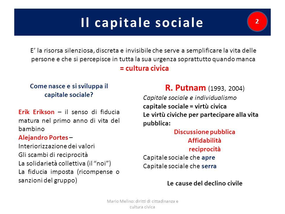 Il capitale sociale R. Putnam (1993, 2004) = cultura civica 2