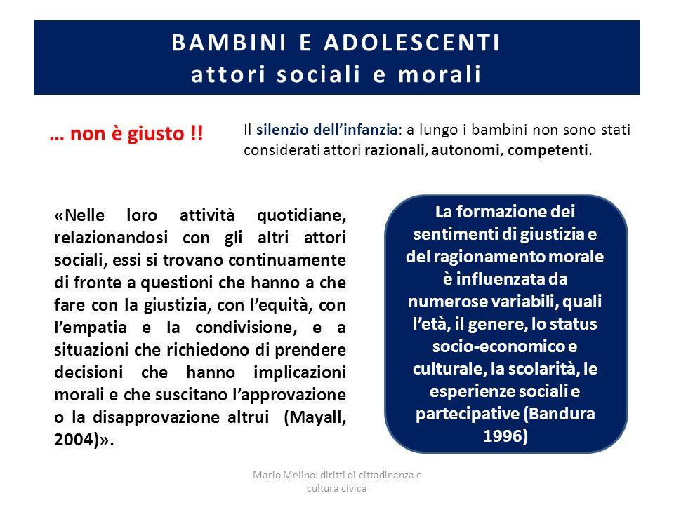 BAMBINI E ADOLESCENTI attori sociali e morali