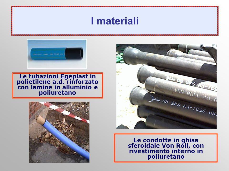 I materiali Le tubazioni Egeplast in polietilene a.d. rinforzato con lamine in alluminio e poliuretano.