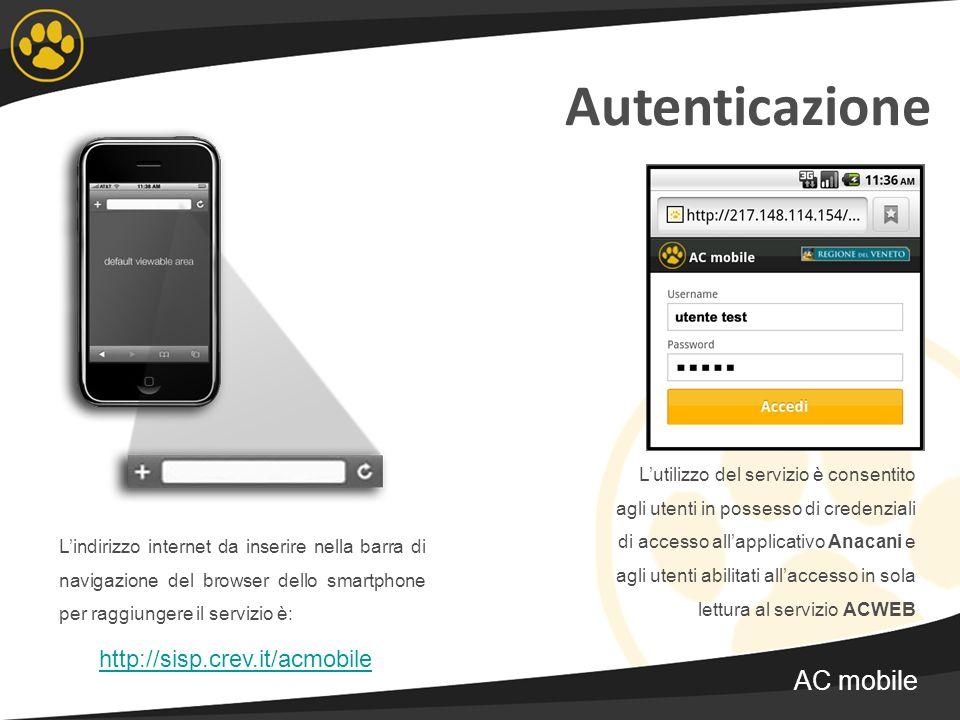 Autenticazione AC mobile http://sisp.crev.it/acmobile