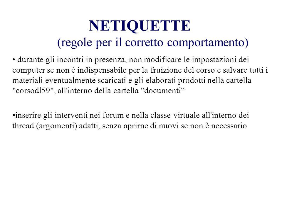 NETIQUETTE (regole per il corretto comportamento)