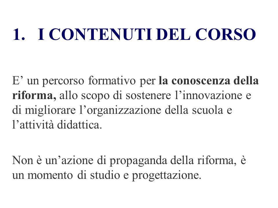 I CONTENUTI DEL CORSO