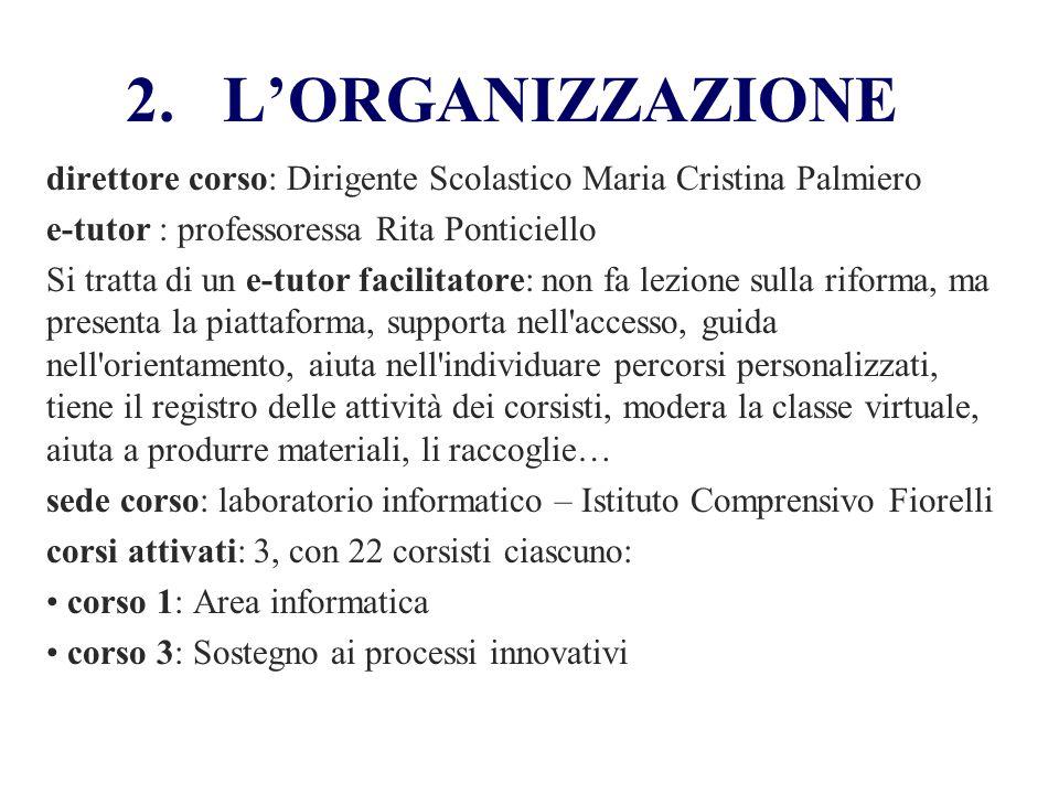 L'ORGANIZZAZIONE direttore corso: Dirigente Scolastico Maria Cristina Palmiero. e-tutor : professoressa Rita Ponticiello.