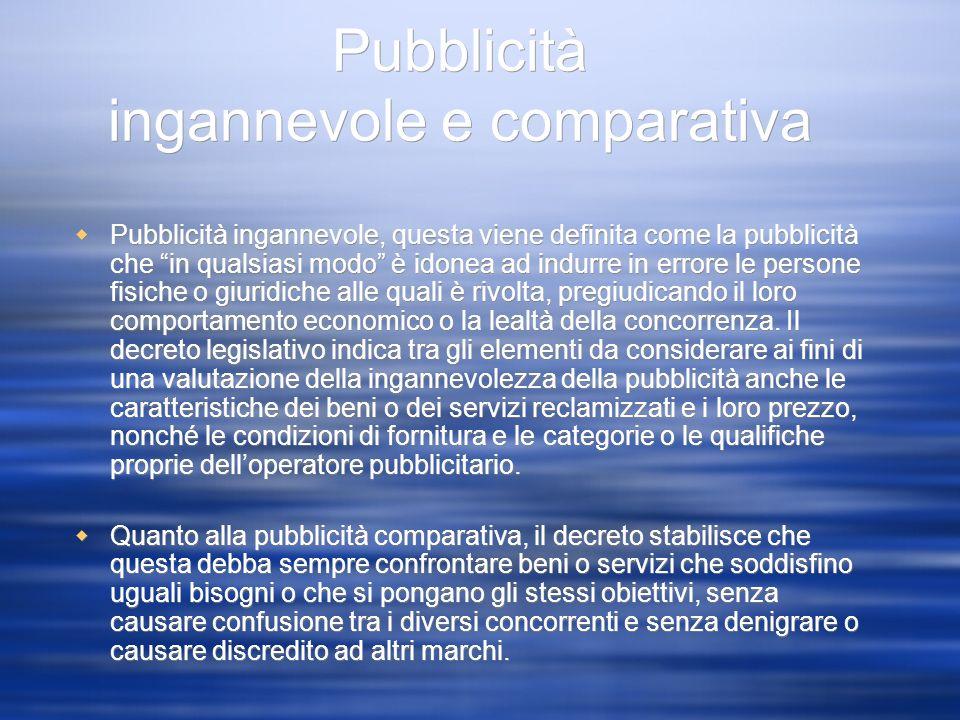 Pubblicità ingannevole e comparativa