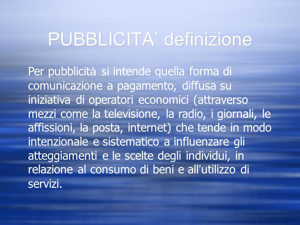 PUBBLICITA' definizione