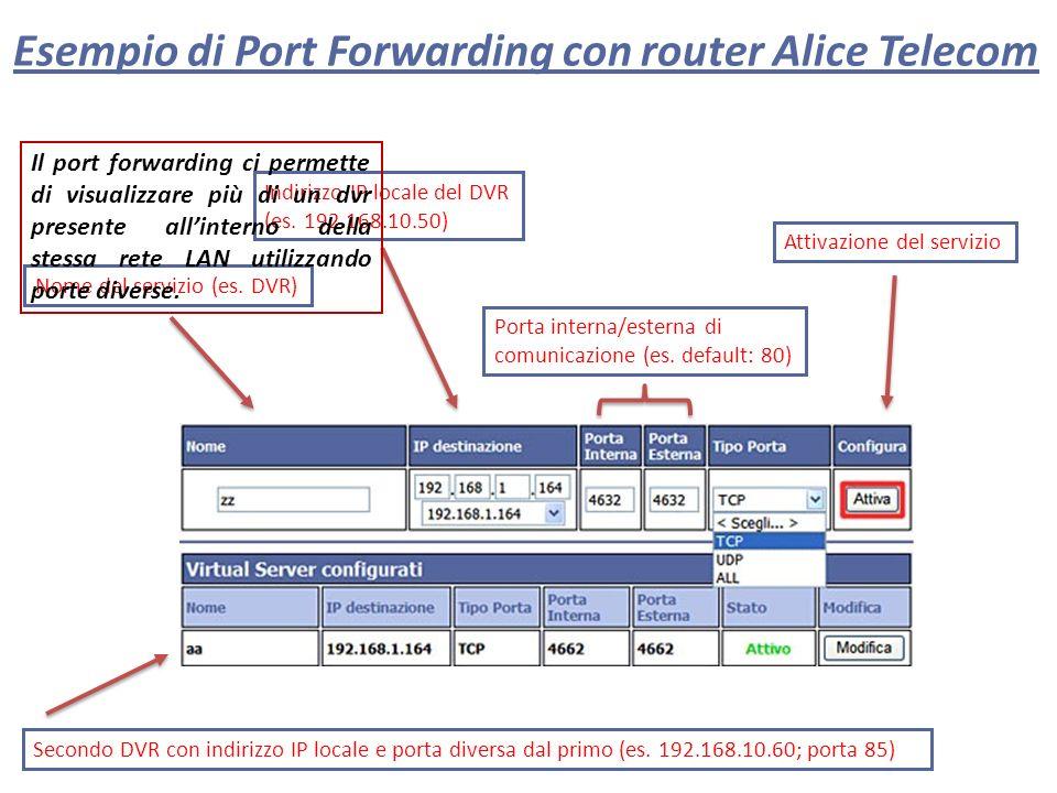 Esempio di Port Forwarding con router Alice Telecom