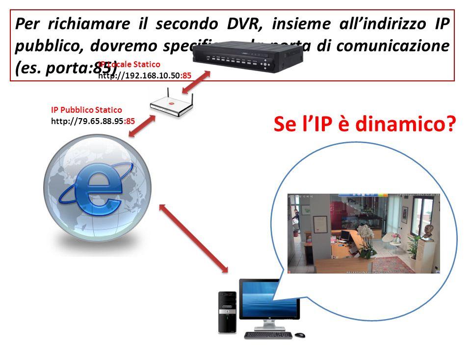 Per richiamare il secondo DVR, insieme all'indirizzo IP pubblico, dovremo specificare la porta di comunicazione (es. porta:85)