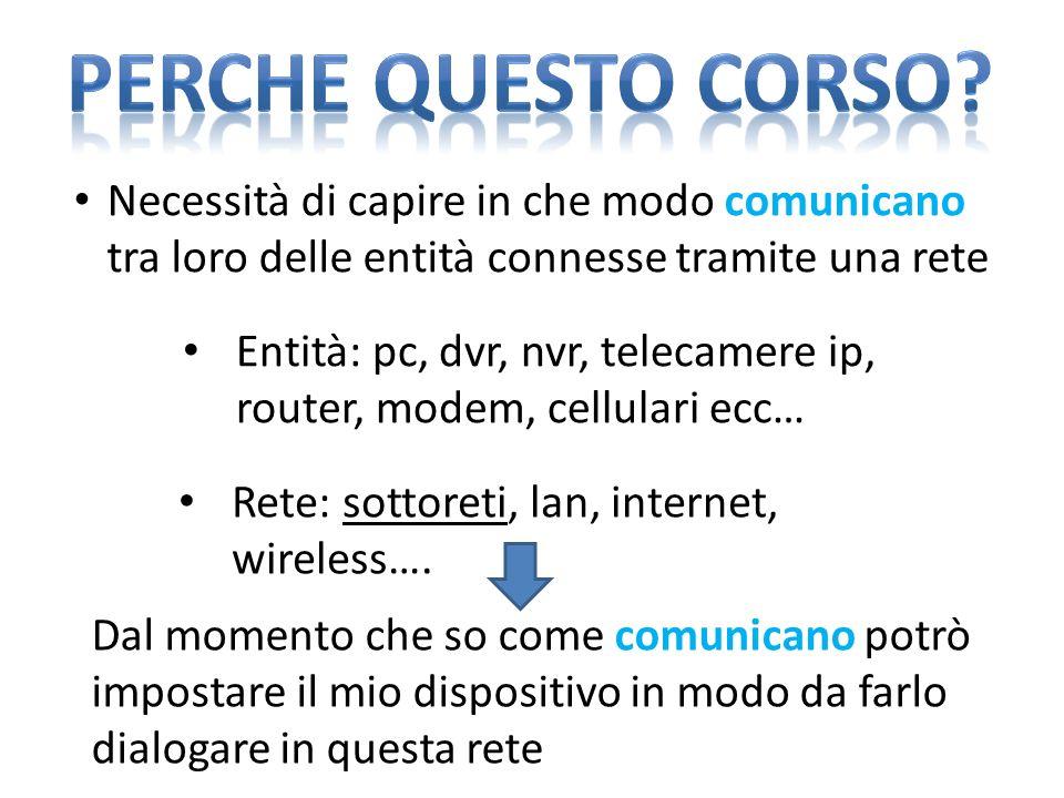 Perche questo corso Necessità di capire in che modo comunicano tra loro delle entità connesse tramite una rete.