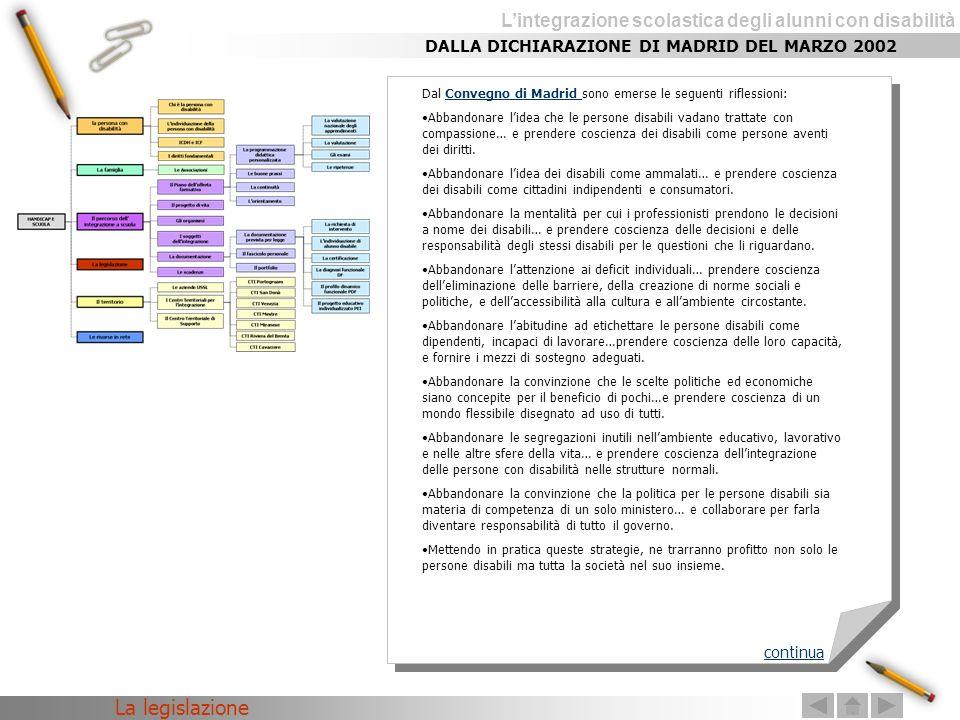 La legislazione DALLA DICHIARAZIONE DI MADRID DEL MARZO 2002 continua