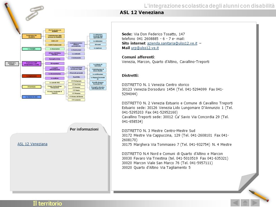 Il territorio Il territorio ASL 12 Veneziana