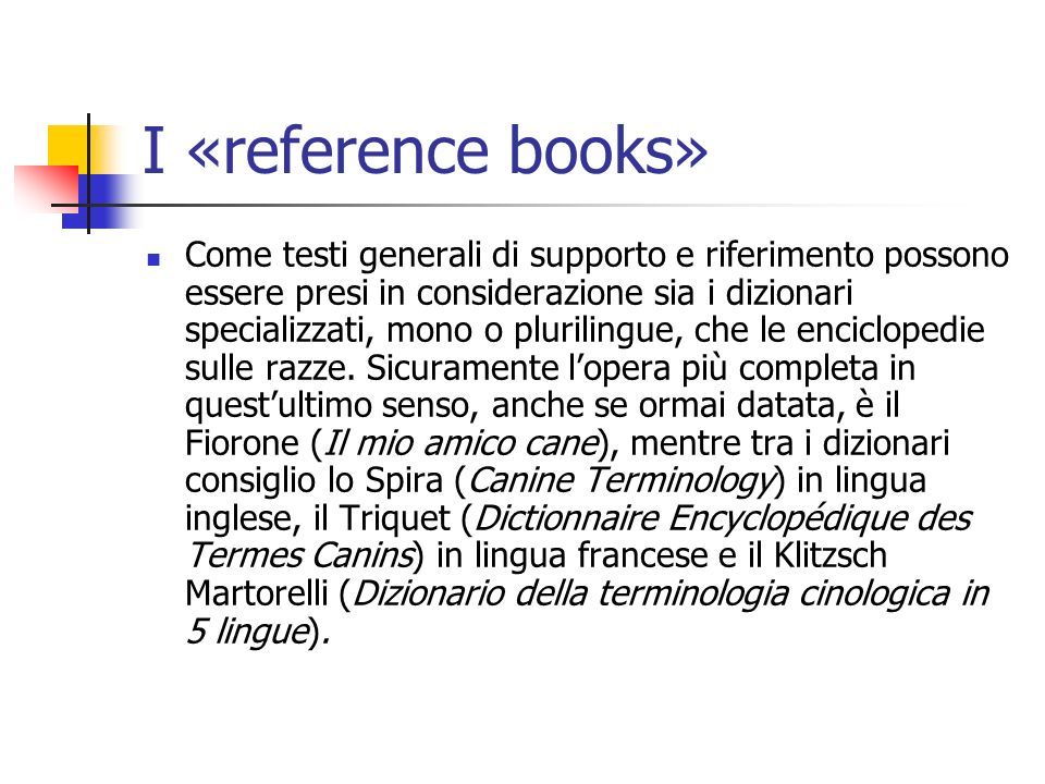 I «reference books»