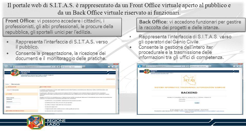 Il portale web di S.I.T.A.S. è rappresentato da un Front Office virtuale aperto al pubblico e da un Back Office virtuale riservato ai funzionari.