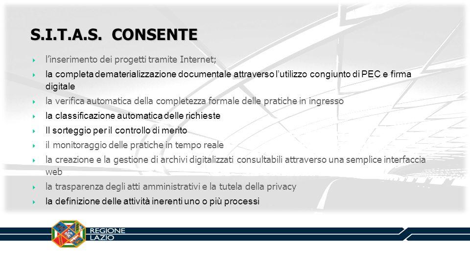 S.I.T.A.S. CONSENTE l'inserimento dei progetti tramite Internet;