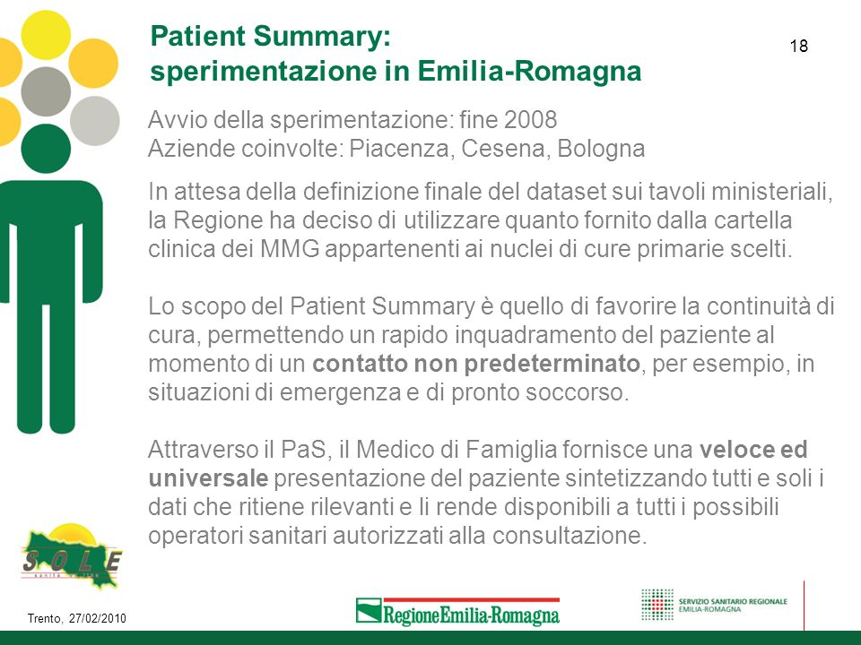 Patient Summary: sperimentazione in Emilia-Romagna