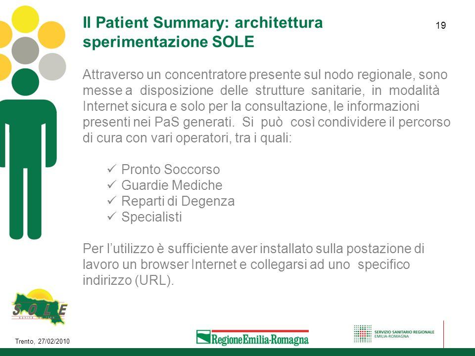 Il Patient Summary: architettura sperimentazione SOLE