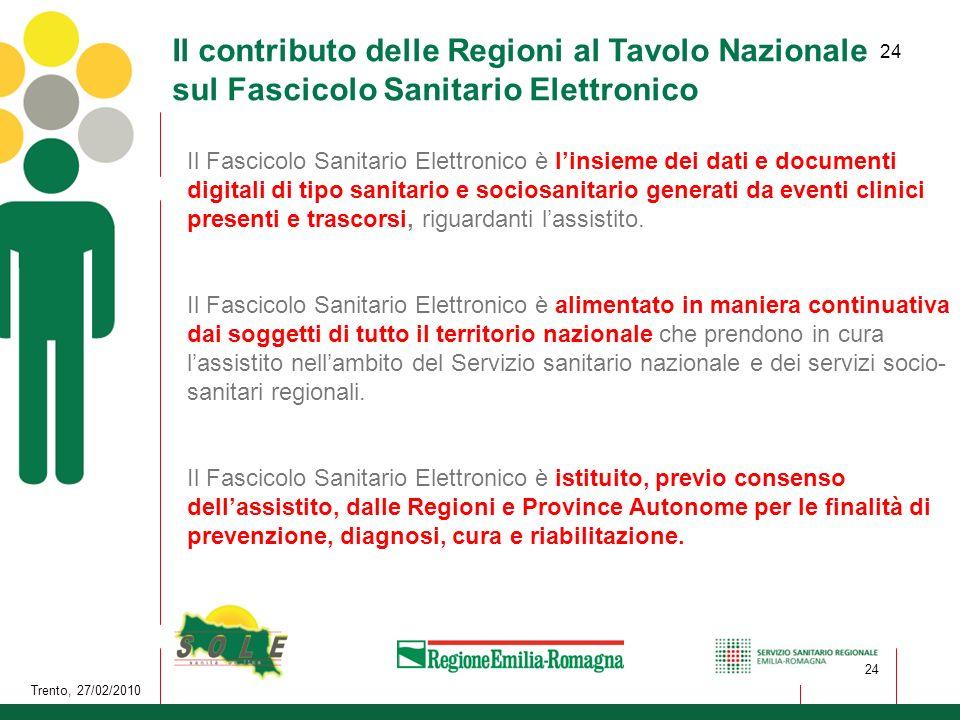 Il contributo delle Regioni al Tavolo Nazionale sul Fascicolo Sanitario Elettronico