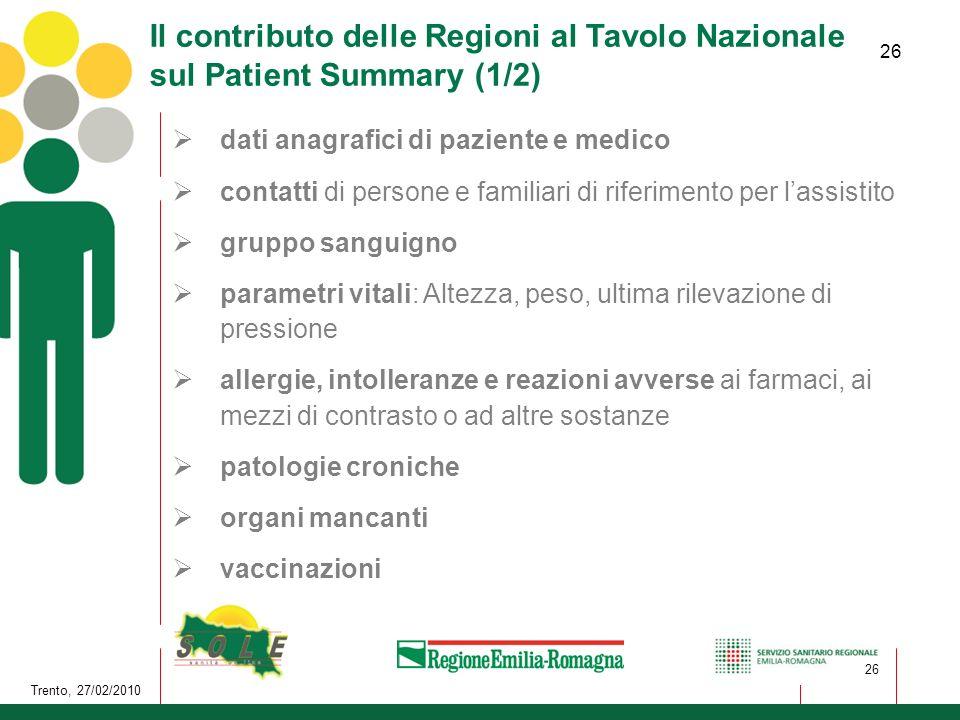 Il contributo delle Regioni al Tavolo Nazionale sul Patient Summary (1/2)