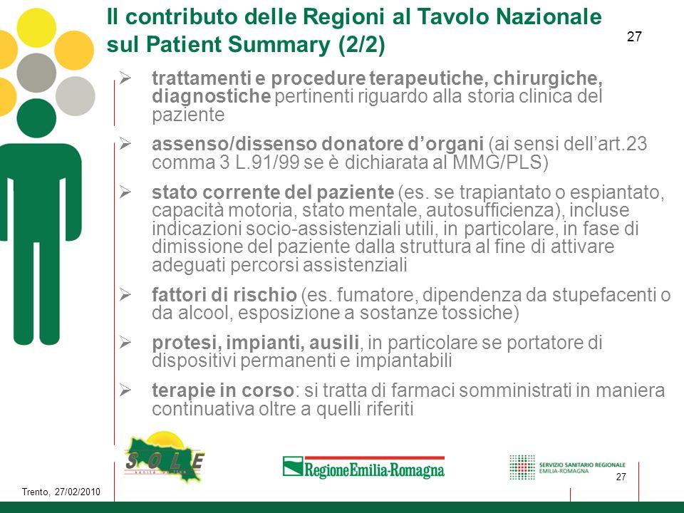 Il contributo delle Regioni al Tavolo Nazionale sul Patient Summary (2/2)