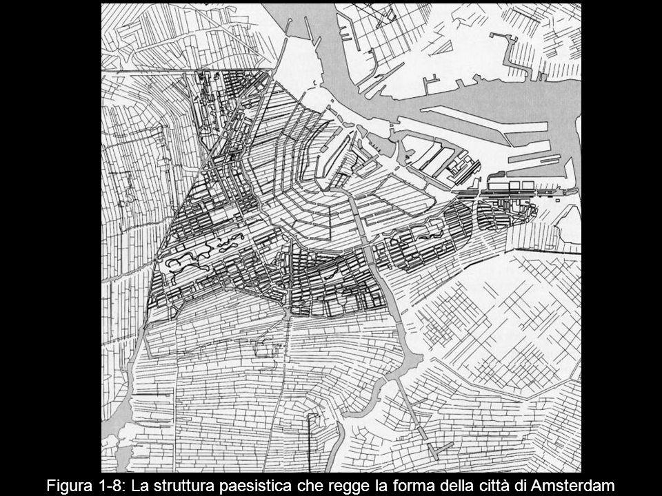 Figura 1‑8: La struttura paesistica che regge la forma della città di Amsterdam