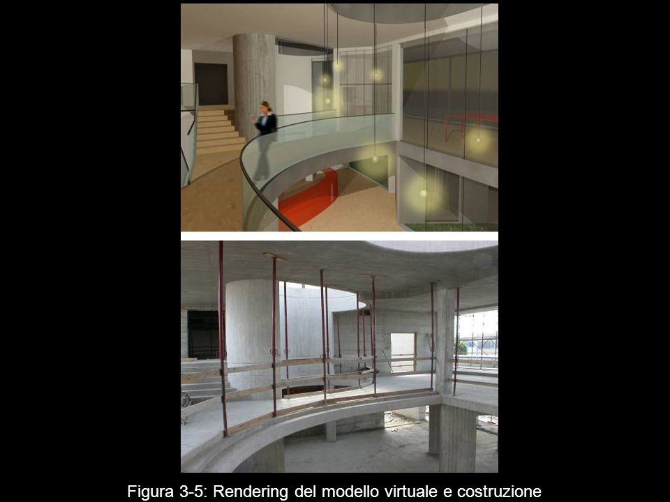 Figura 3‑5: Rendering del modello virtuale e costruzione