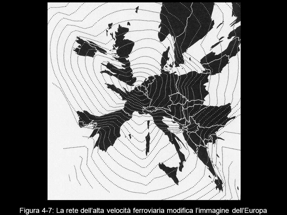 Figura 4‑7: La rete dell'alta velocità ferroviaria modifica l'immagine dell'Europa