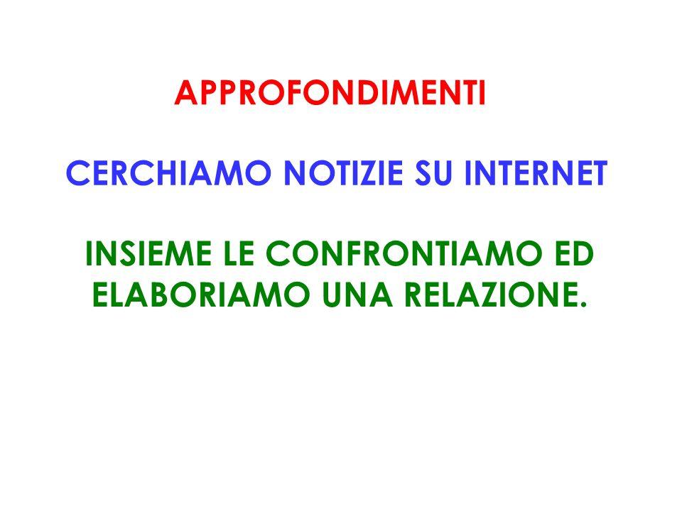 CERCHIAMO NOTIZIE SU INTERNET