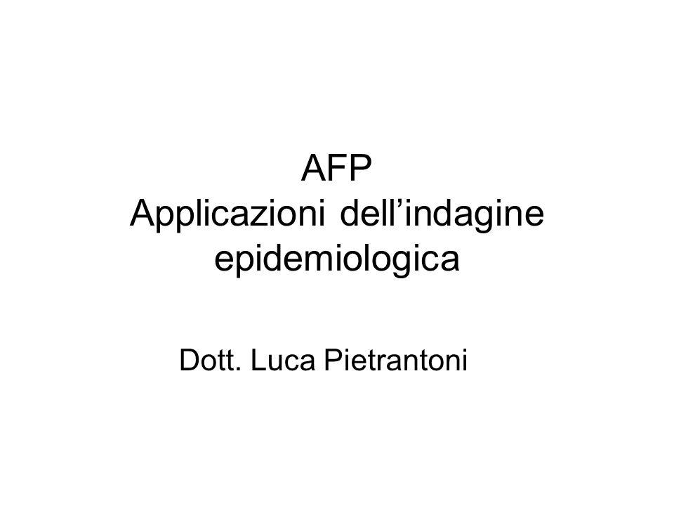 AFP Applicazioni dell'indagine epidemiologica