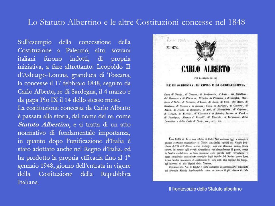 Lo Statuto Albertino e le altre Costituzioni concesse nel 1848