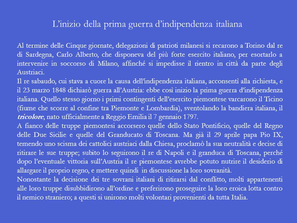L'inizio della prima guerra d'indipendenza italiana
