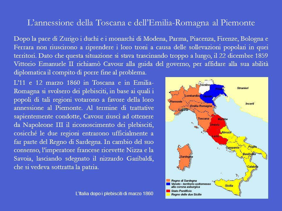 L'annessione della Toscana e dell'Emilia-Romagna al Piemonte