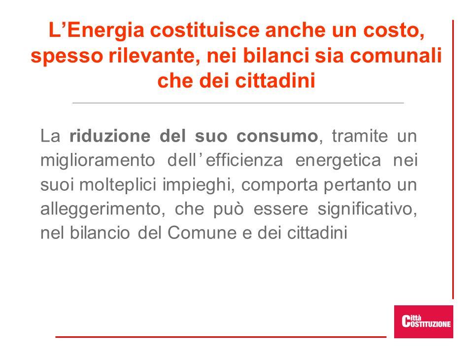 L'Energia costituisce anche un costo, spesso rilevante, nei bilanci sia comunali che dei cittadini