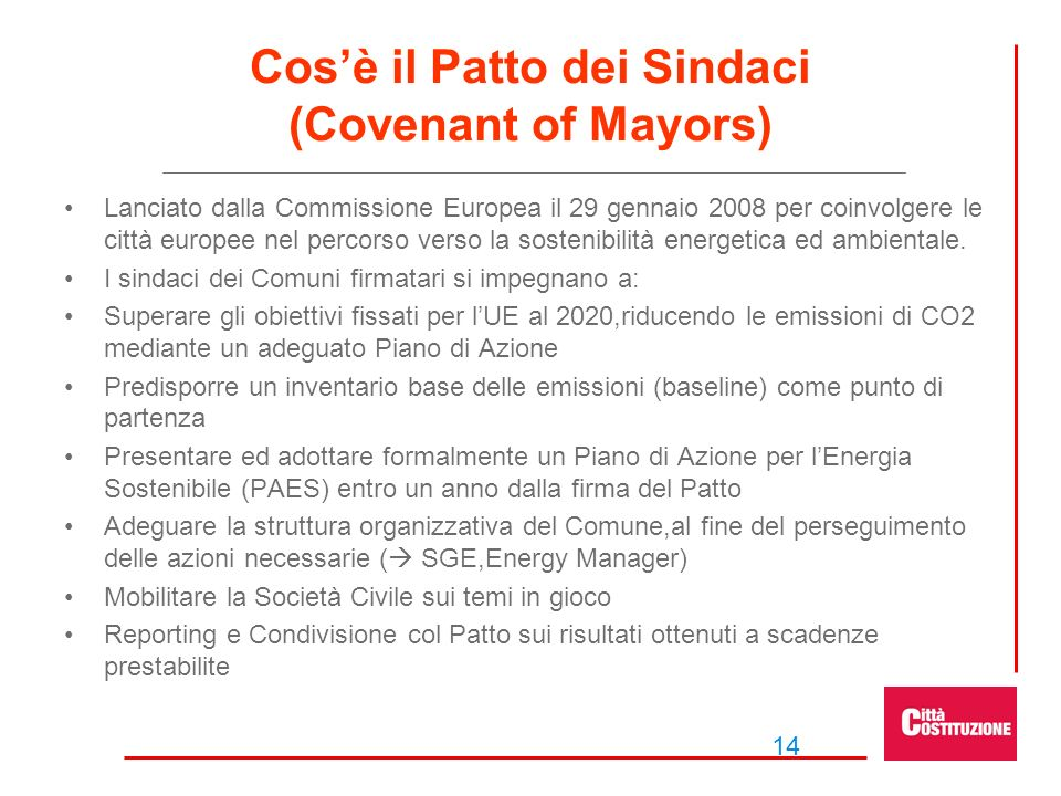 Cos'è il Patto dei Sindaci (Covenant of Mayors)