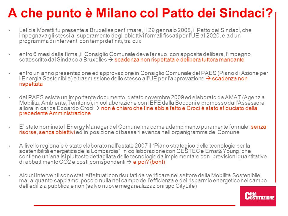 A che punto è Milano col Patto dei Sindaci