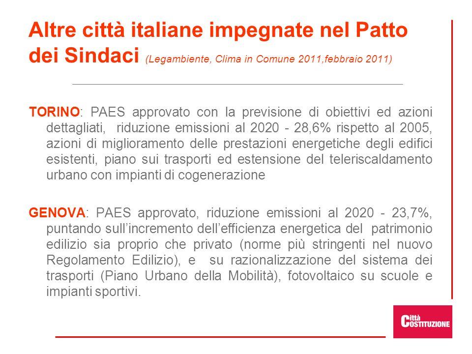 Altre città italiane impegnate nel Patto dei Sindaci (Legambiente, Clima in Comune 2011,febbraio 2011)