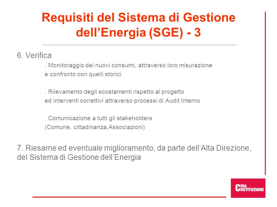 Requisiti del Sistema di Gestione dell'Energia (SGE) - 3