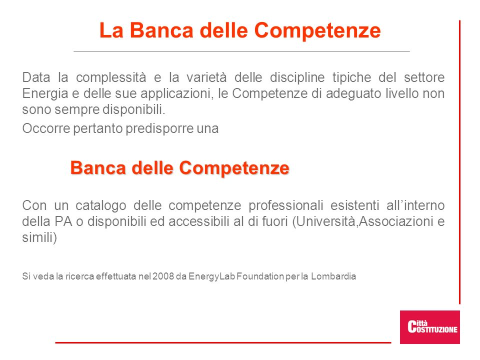 La Banca delle Competenze