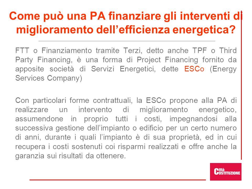 Come può una PA finanziare gli interventi di miglioramento dell'efficienza energetica