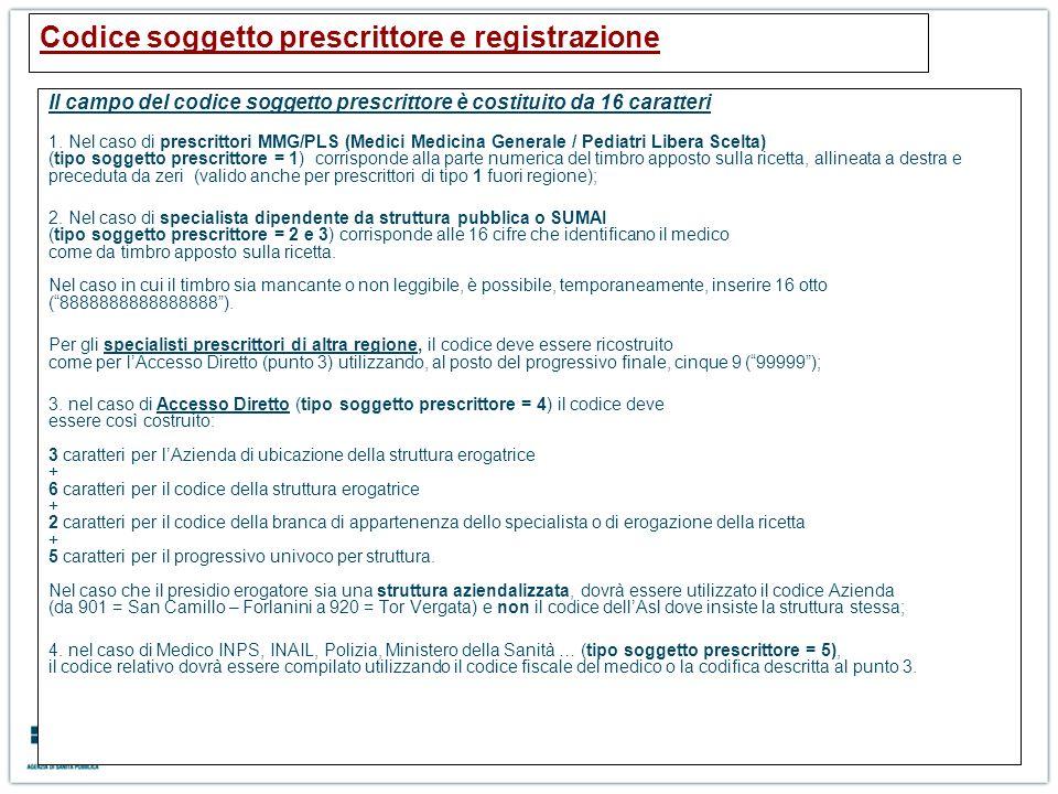 Codice soggetto prescrittore e registrazione
