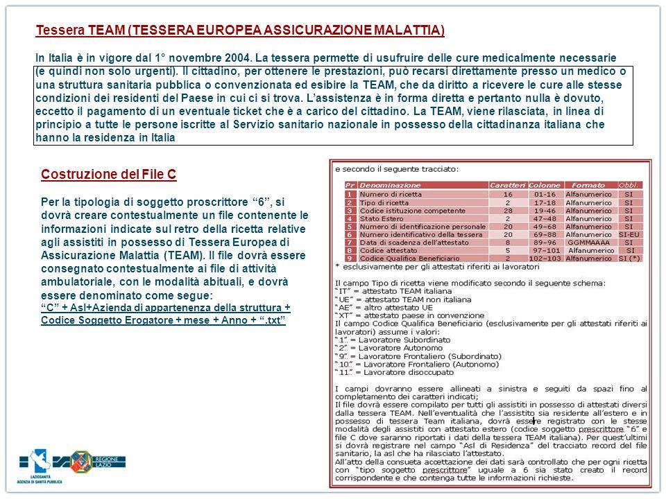 Tessera TEAM (TESSERA EUROPEA ASSICURAZIONE MALATTIA) In Italia è in vigore dal 1° novembre 2004. La tessera permette di usufruire delle cure medicalmente necessarie (e quindi non solo urgenti). Il cittadino, per ottenere le prestazioni, può recarsi direttamente presso un medico o una struttura sanitaria pubblica o convenzionata ed esibire la TEAM, che da diritto a ricevere le cure alle stesse condizioni dei residenti del Paese in cui ci si trova. L'assistenza è in forma diretta e pertanto nulla è dovuto, eccetto il pagamento di un eventuale ticket che è a carico del cittadino. La TEAM, viene rilasciata, in linea di principio a tutte le persone iscritte al Servizio sanitario nazionale in possesso della cittadinanza italiana che hanno la residenza in Italia