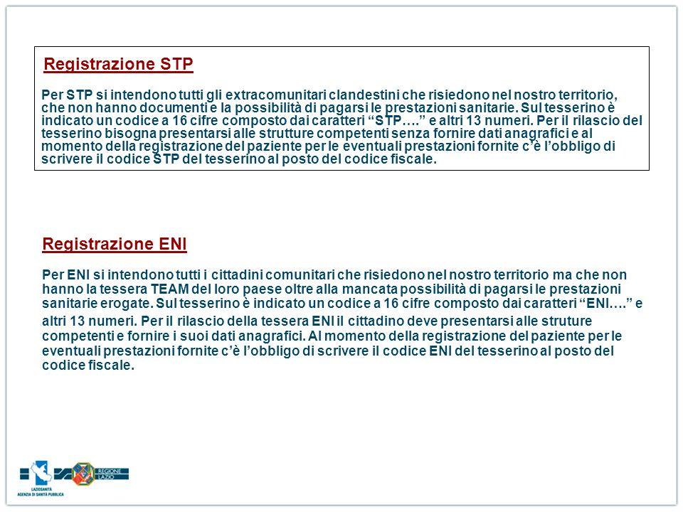 Registrazione STP Per STP si intendono tutti gli extracomunitari clandestini che risiedono nel nostro territorio, che non hanno documenti e la possibilità di pagarsi le prestazioni sanitarie. Sul tesserino è indicato un codice a 16 cifre composto dai caratteri STP…. e altri 13 numeri. Per il rilascio del tesserino bisogna presentarsi alle strutture competenti senza fornire dati anagrafici e al momento della registrazione del paziente per le eventuali prestazioni fornite c'è l'obbligo di scrivere il codice STP del tesserino al posto del codice fiscale.