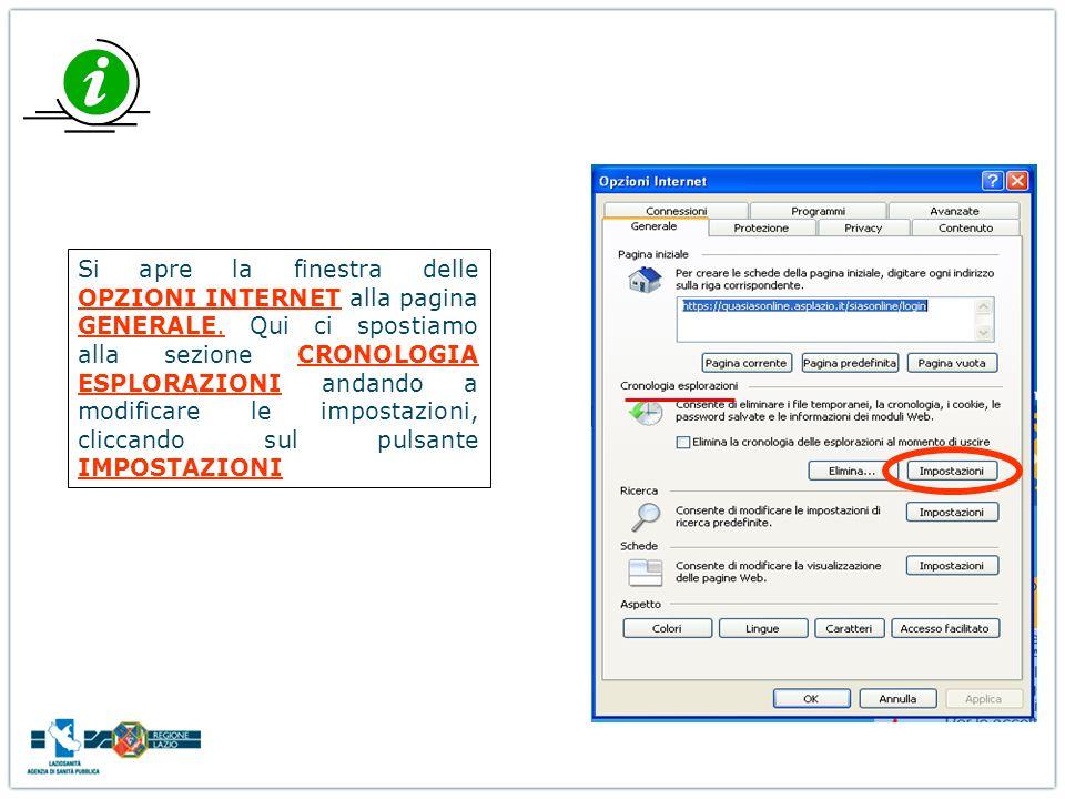 Si apre la finestra delle OPZIONI INTERNET alla pagina GENERALE