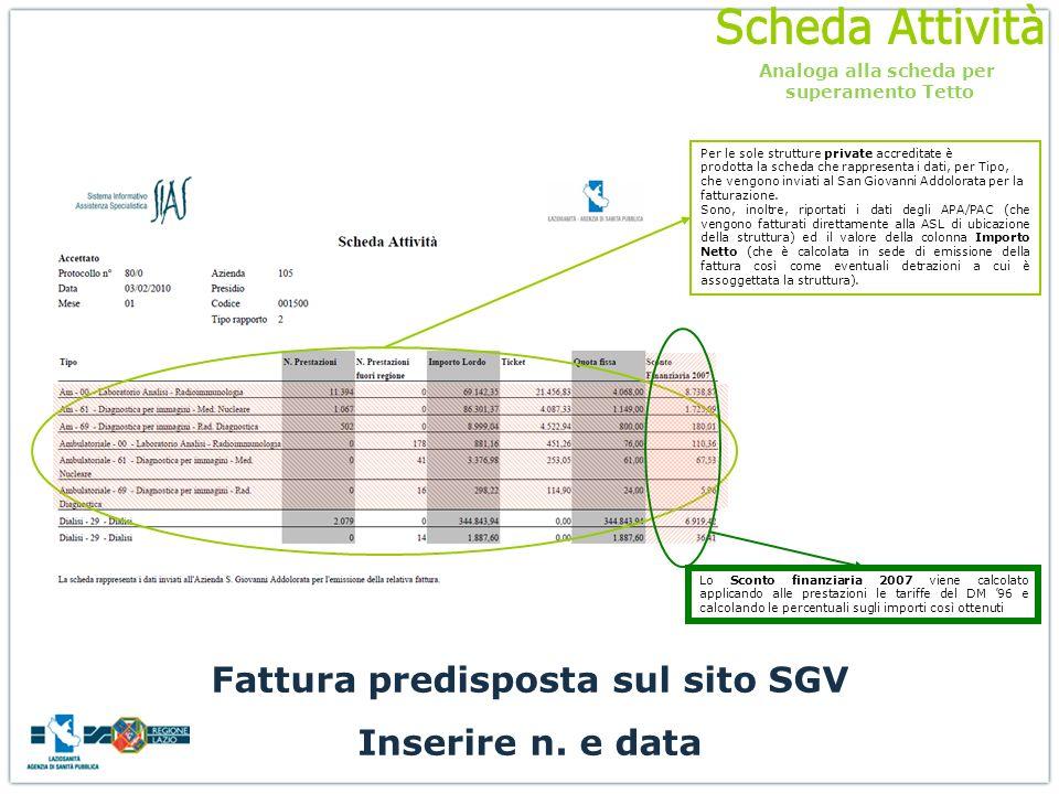 Analoga alla scheda per Fattura predisposta sul sito SGV