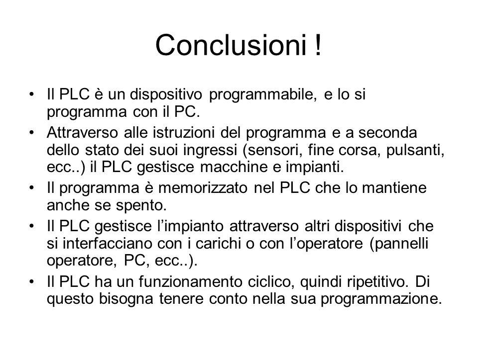 Conclusioni ! Il PLC è un dispositivo programmabile, e lo si programma con il PC.